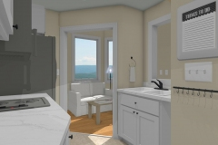 Narrow kitchen design with white cabinets and view to living room