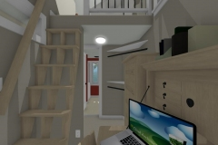 Small stairs showing extra storage solutions in lower level