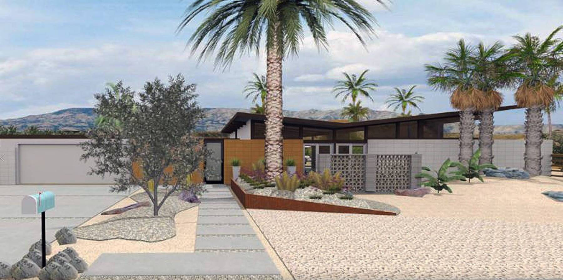 Residential design with a butterfly roof and a backyard breeze block.