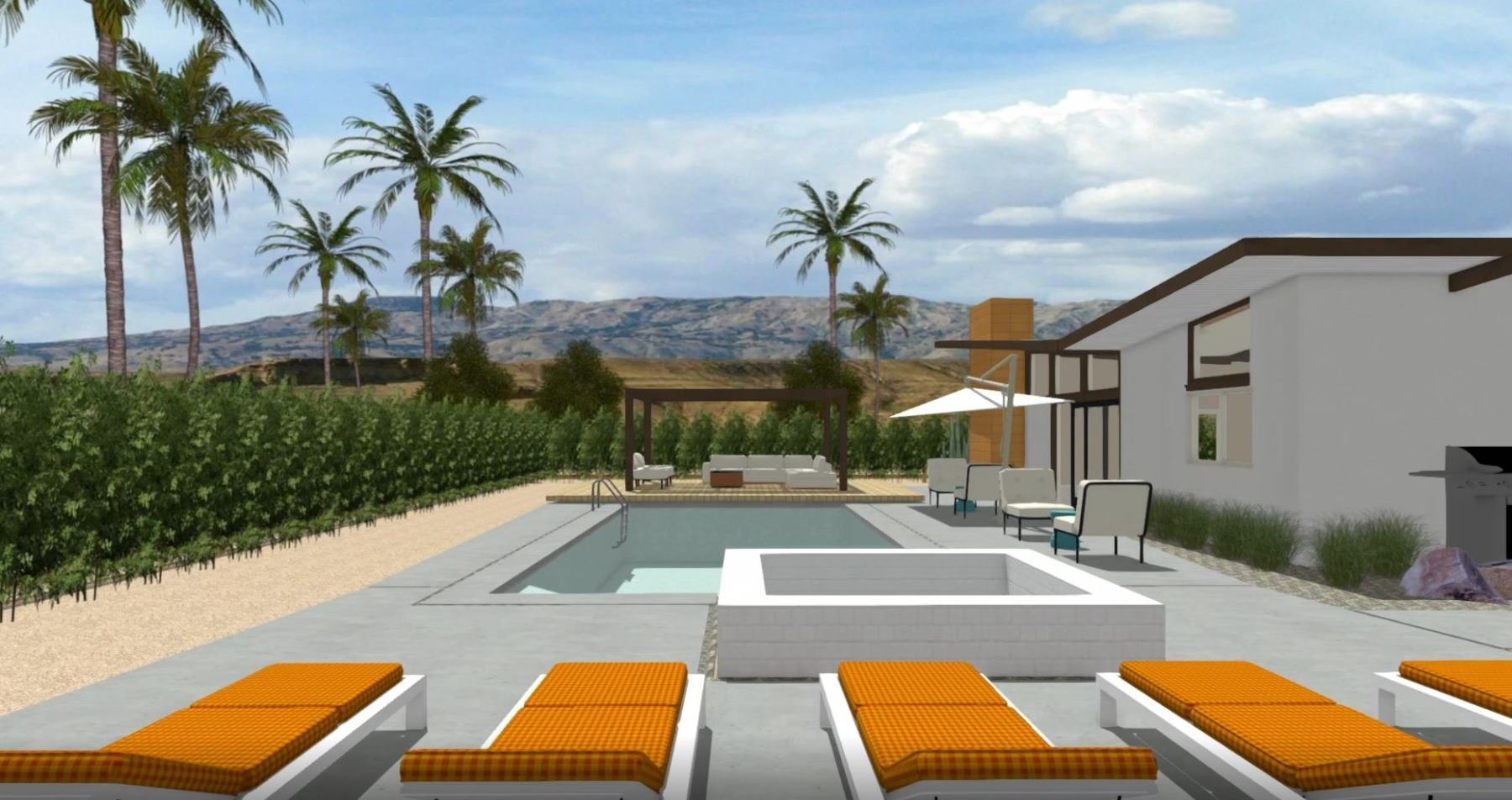 Back yard design with pool, raised deck, and seating area for socializing.