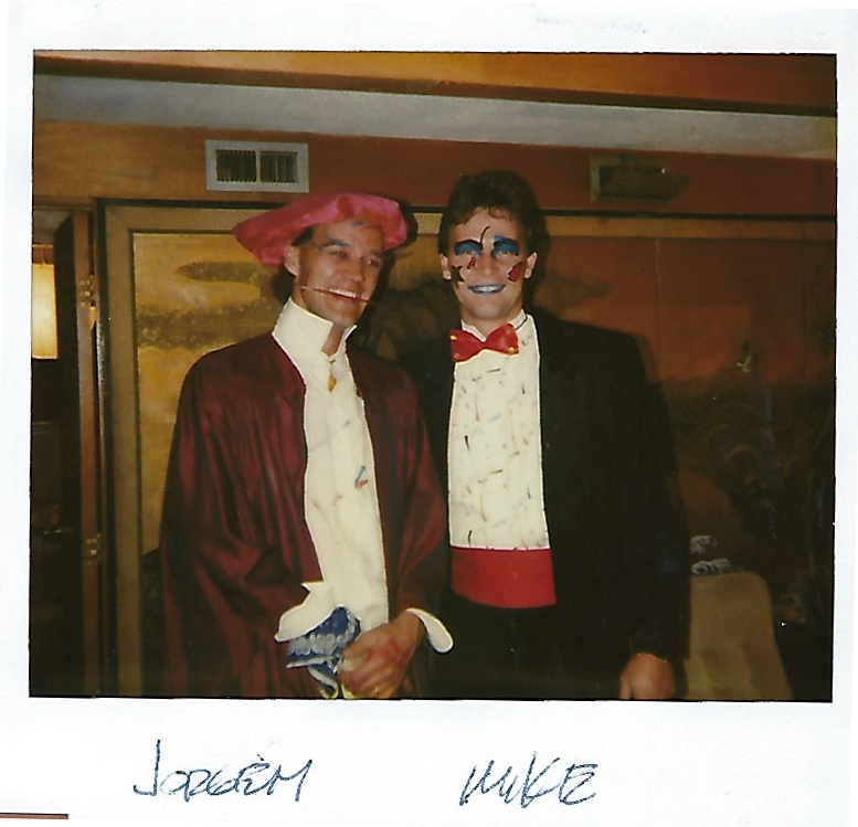 Michael Rust with painted faces attending a Taliesin West formal event