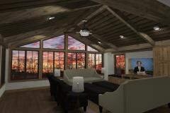 Family room with floor to ceiling windows, vaulted ceiling and exposed beams