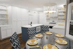 White kitchen featuring blue and yellow accents