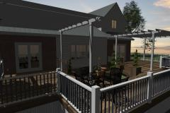 backyard patio with pergula