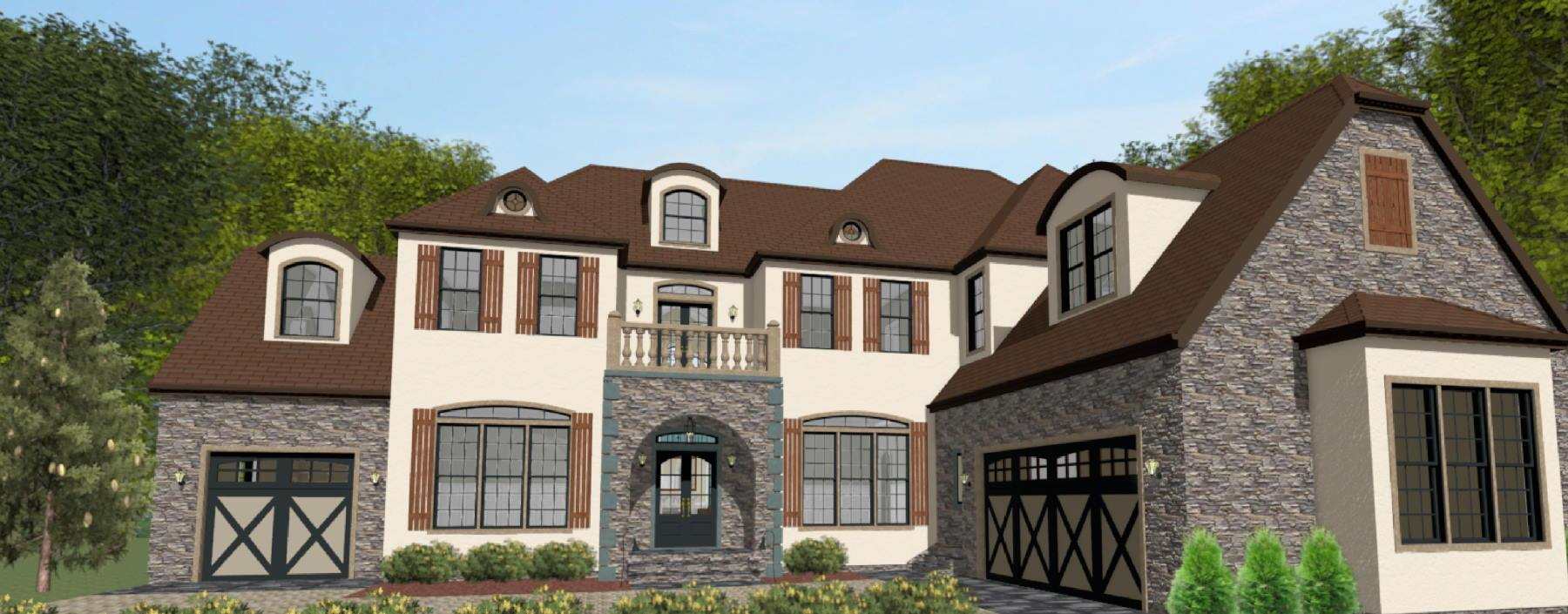 French Country style exterior with a brick and segmental dormers.