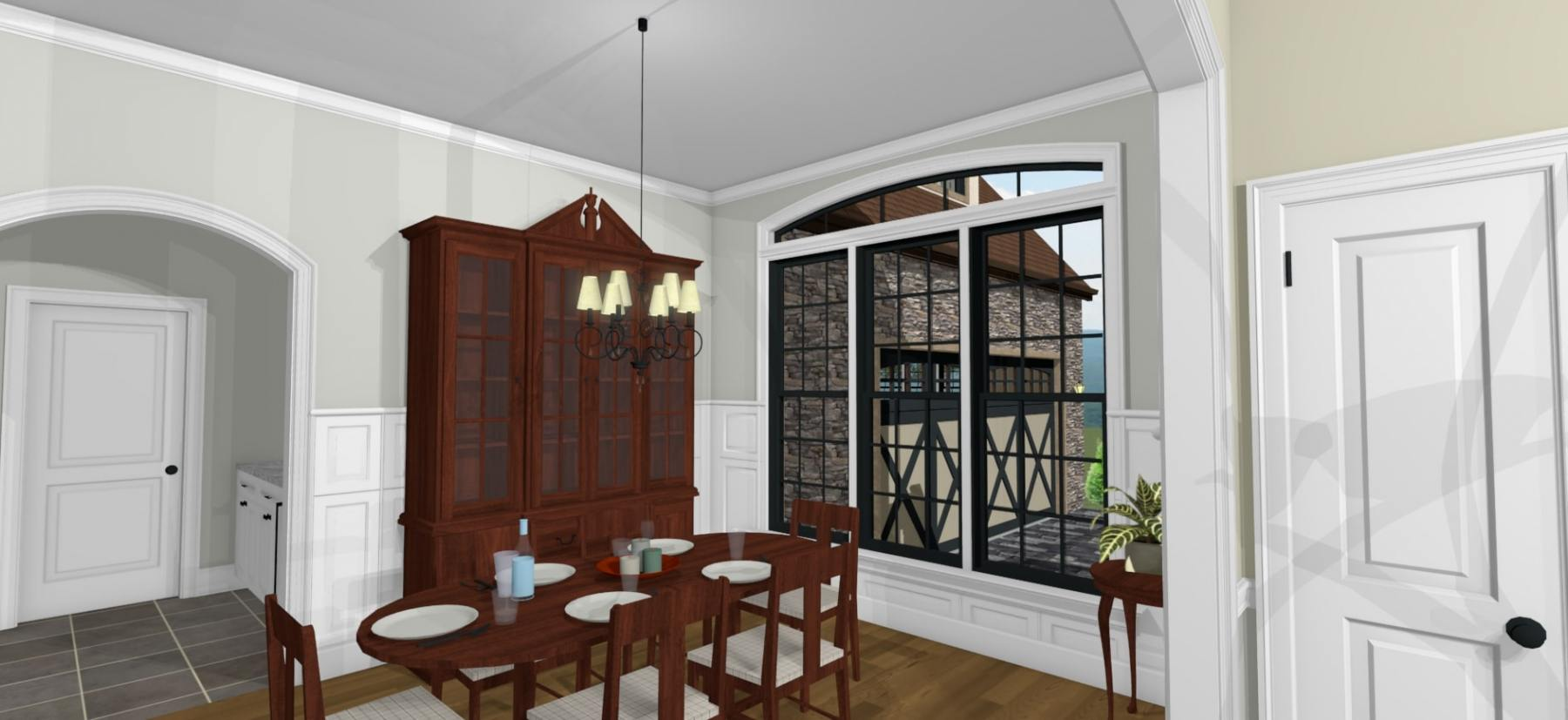 Dining area with large open windows and wall wainscoting.