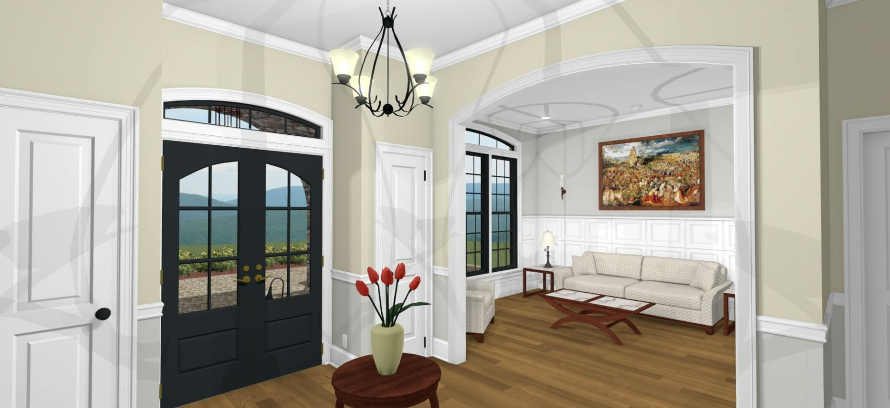 Spacious entryway with storage closets and a hanging chandelier.