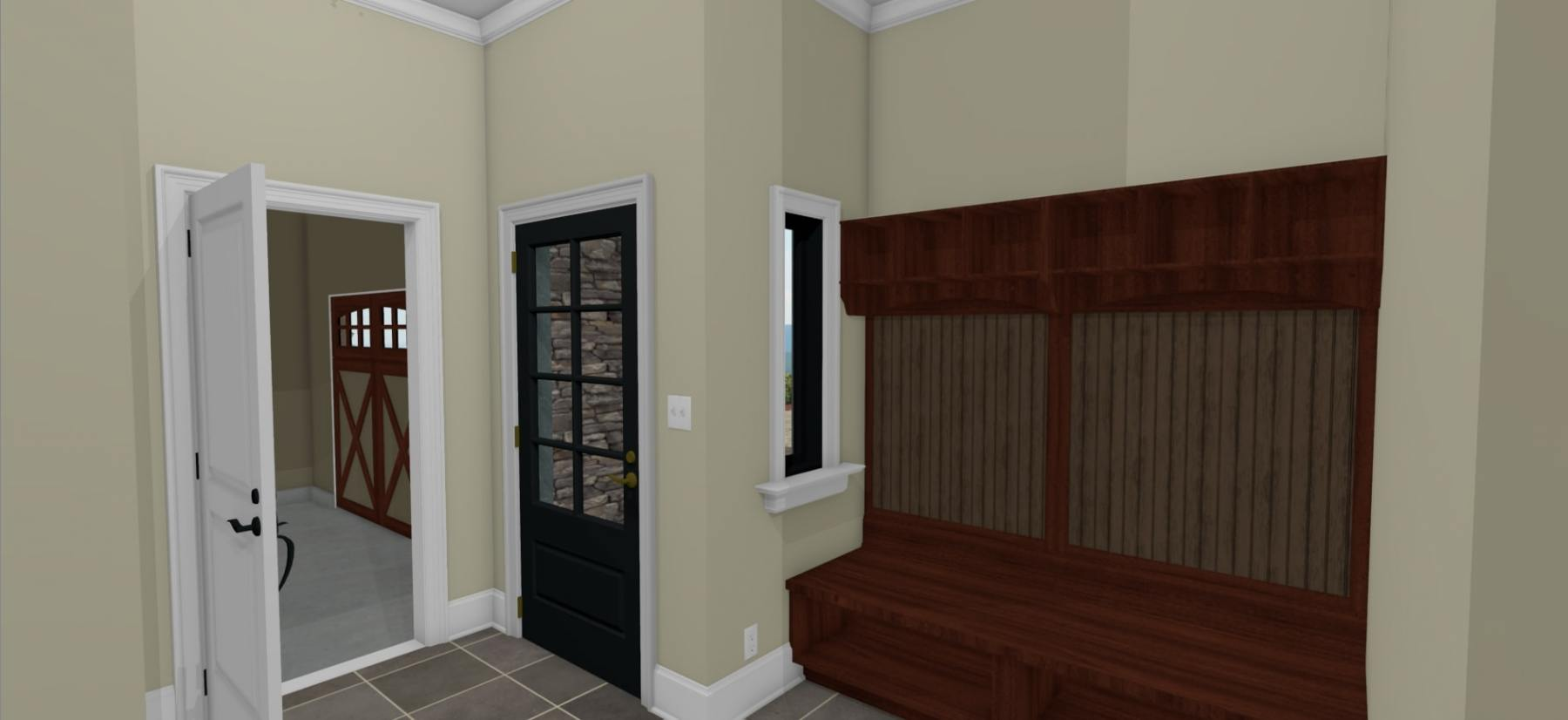 Mudroom with a seating area and access to the garage.