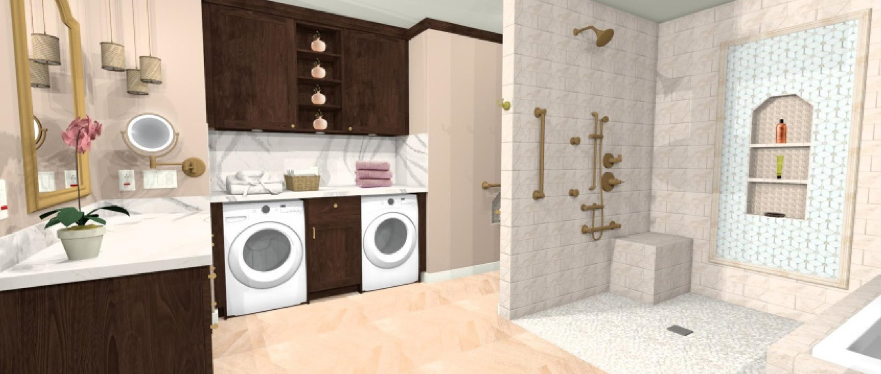 A spacious and functional primary bathroom that includes a double vanity, makeup vanity, a privacy toilet, shower, and bathtub