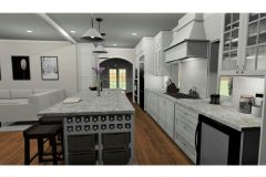Jorge Arreola's kitchen design with wine storage in the island and sleek white cabinets.