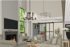 Sandra Luka's large open living room design with neutral accents.