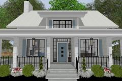 Bobby McFadden's residential design with large open windows and blue exterior accents.
