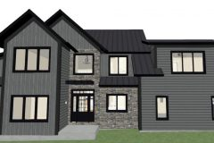 Cody Corbin's Two-story residential design with a dark gray shiplap exterior and large open windows.