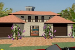 Gisela Everhard's residential house design with a taupe exterior and a two-car garage.