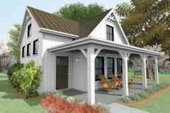 Larry Singleton's Micro-living home with a vaulted living area and a front porch.