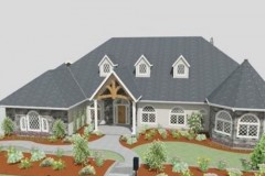 Michael Burt's Northern European house design with structural trusses and an open floor-plan design.
