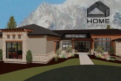 Steve Johnsen's residential rendering with exposed exterior beams and tan brick siding.