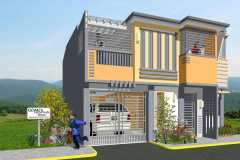 Two-story residential home in the Philippines with  yellow and gray siding.