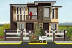 Two-story residential home in the Philippines with  tan siding and brick accents.