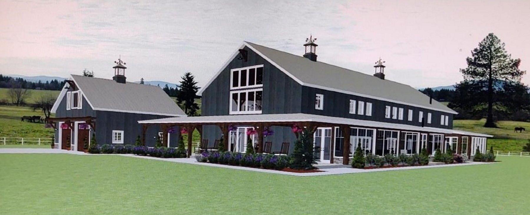 Barndominium design with wrap-around porch and garage.