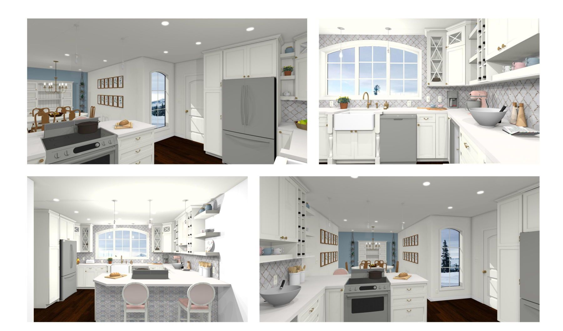 Shabby chic kitchen with large windows for natural light with gray neutral colors