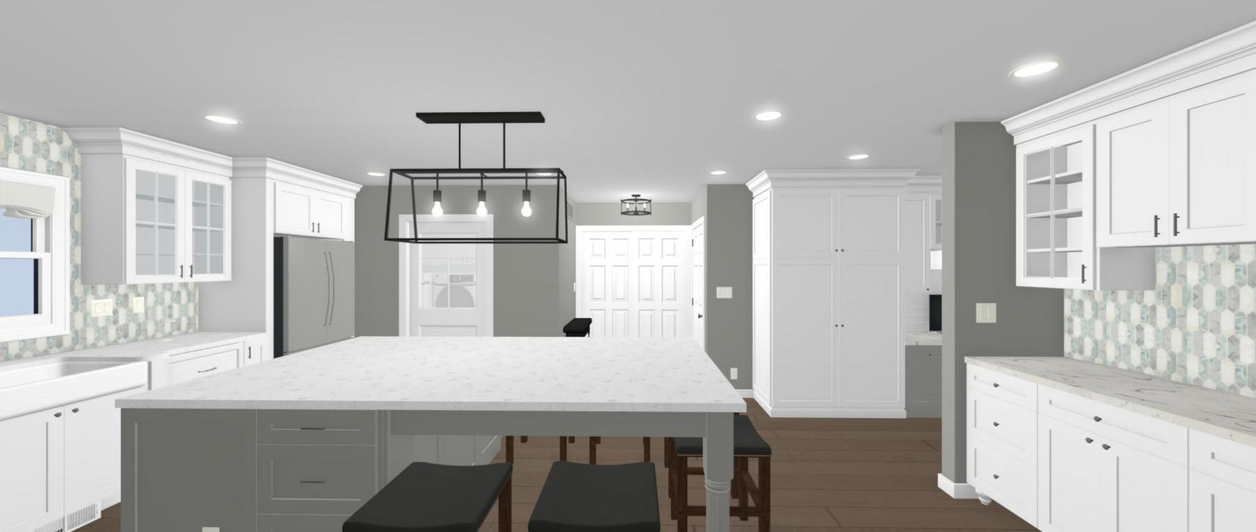 Kitchen with seating area