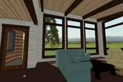 Living area with floor-to-ceiling windows and exposed ceiling beams.