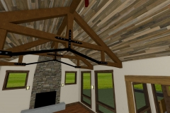 Custom ceiling with exposed, decorative trusses.