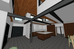 Large kitchen with exposed steel I-beams.