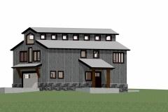 Clerestory barn with gray siding and brick foundation.