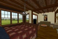 Master bedroom with exposed beams, craftsman windows and hardwood floors.