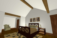 Master bedroom with vaulted ceiling and exposed beams.