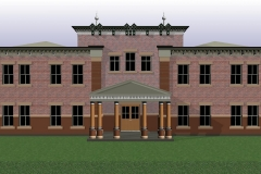 Large home with brick facade and a parapet roof.