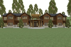 Modern, rustic design with timber framing and a large round entry patio.