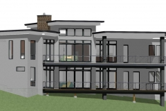 Modern, clerestory design with brick facade and large windows.