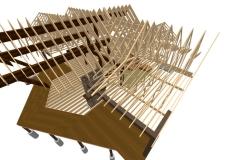 3D framing detail of roof trusses.