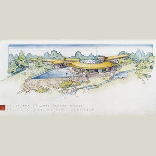 A  sketch of the original Frank Lloyd Wright home designed for Arthur Miller and Marilyn Monroe. It was the inspiration for the Waikapu Valley Clubhouse.