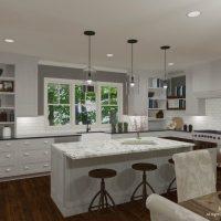 Jenna Mattison White Kitchen Design with Butcher Block Island