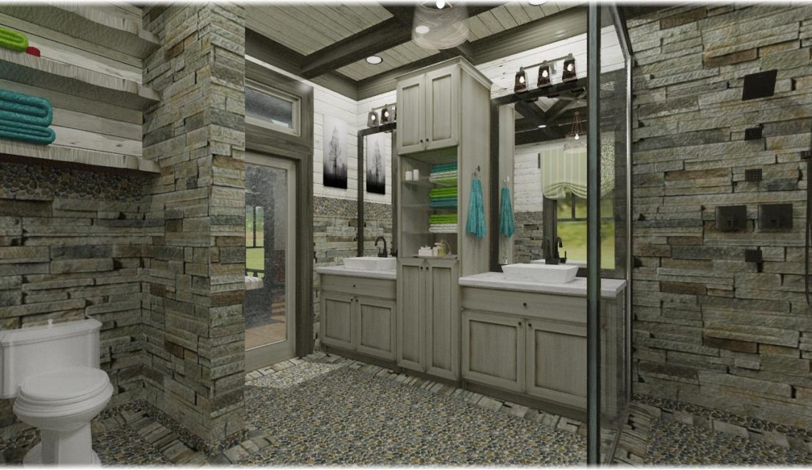 Rustic elegant master bathroom with rain shower, free standing tub and custom ceiling.