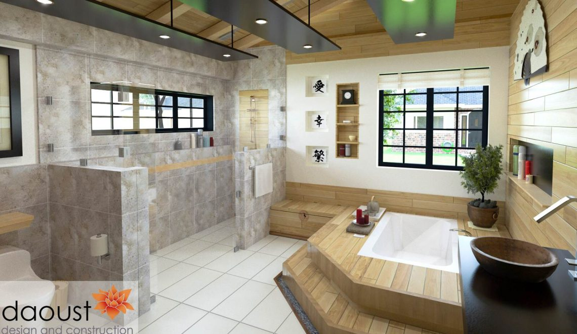 Bathroom Design with walk in shower, built-in tub and spa feel.