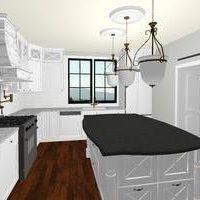 Monika Ross - White Kitchen with Pendants