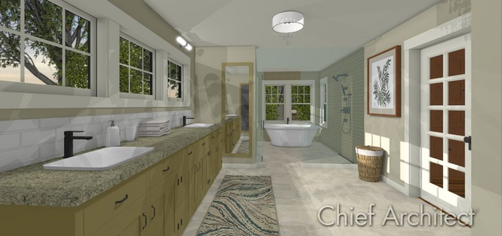 Spa primary bathroom with dual sinks, open shower and freestanding tub.