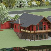 Rustic craftsman home with exposed timber framing and walk out basement.