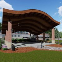 Curved roof covered pavilion for public shelter.