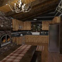 Rustic kitchen design with knotty pine cabinets, fireplace, and antler accessories.