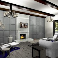 Open living room with marble fireplace.