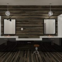 Bathroom double vanity with dark high gloss cabinets and light countertops.