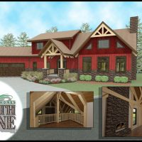 Rustic craftsman home with exposed timber framing.