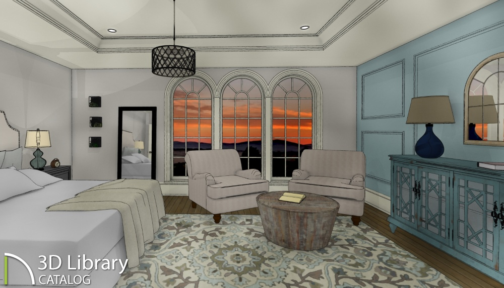 Master Bedroom with Wayfair furniture and accessories to design a warm and relaxing space.