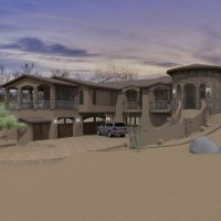 Mountain side home design with stucco and stone siding.